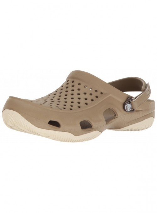 Crocs Swiftwater Deck Clog Men, Hombre Zueco, Marrón  Khaki/Stucco , 41-42 EU