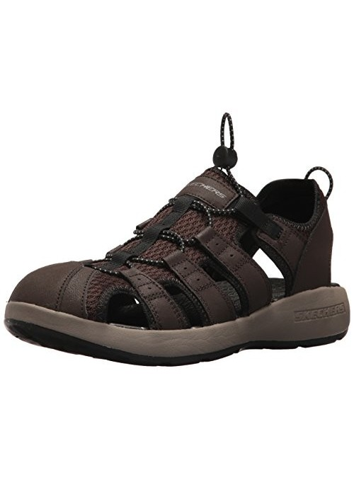 Skechers 51834, Sandalias de Punta Descubierta para Hombre, Marrón  Brown Leather/Mesh/Black Trim , 43 EU