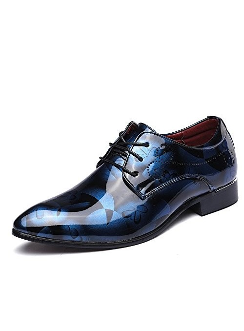 Zapatos Oxford Boda Azul - Negro