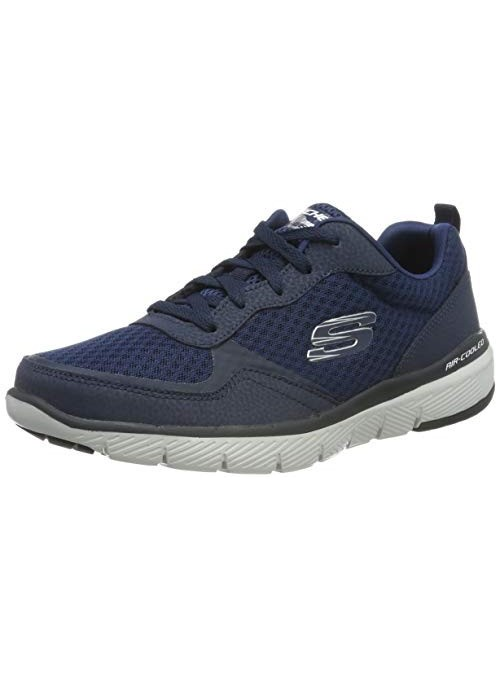 Skechers FLEX ADVANTAGE 3.0 Men's Low-Top Trainers, Blue  Navy Leather/Mesh/Trim Nvy , 5.5 UK  39 EU