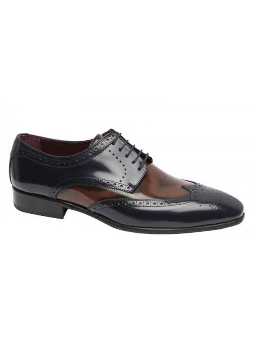 Zapato Oxford Elegante Azul-Marrón